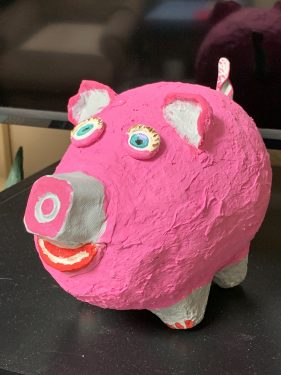 Porketta the paper mache pig
