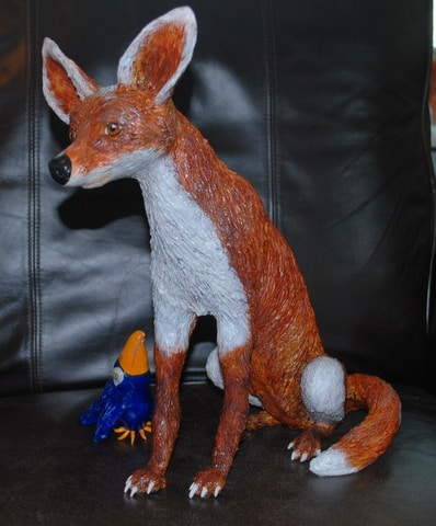 Fox made with paper mache clay