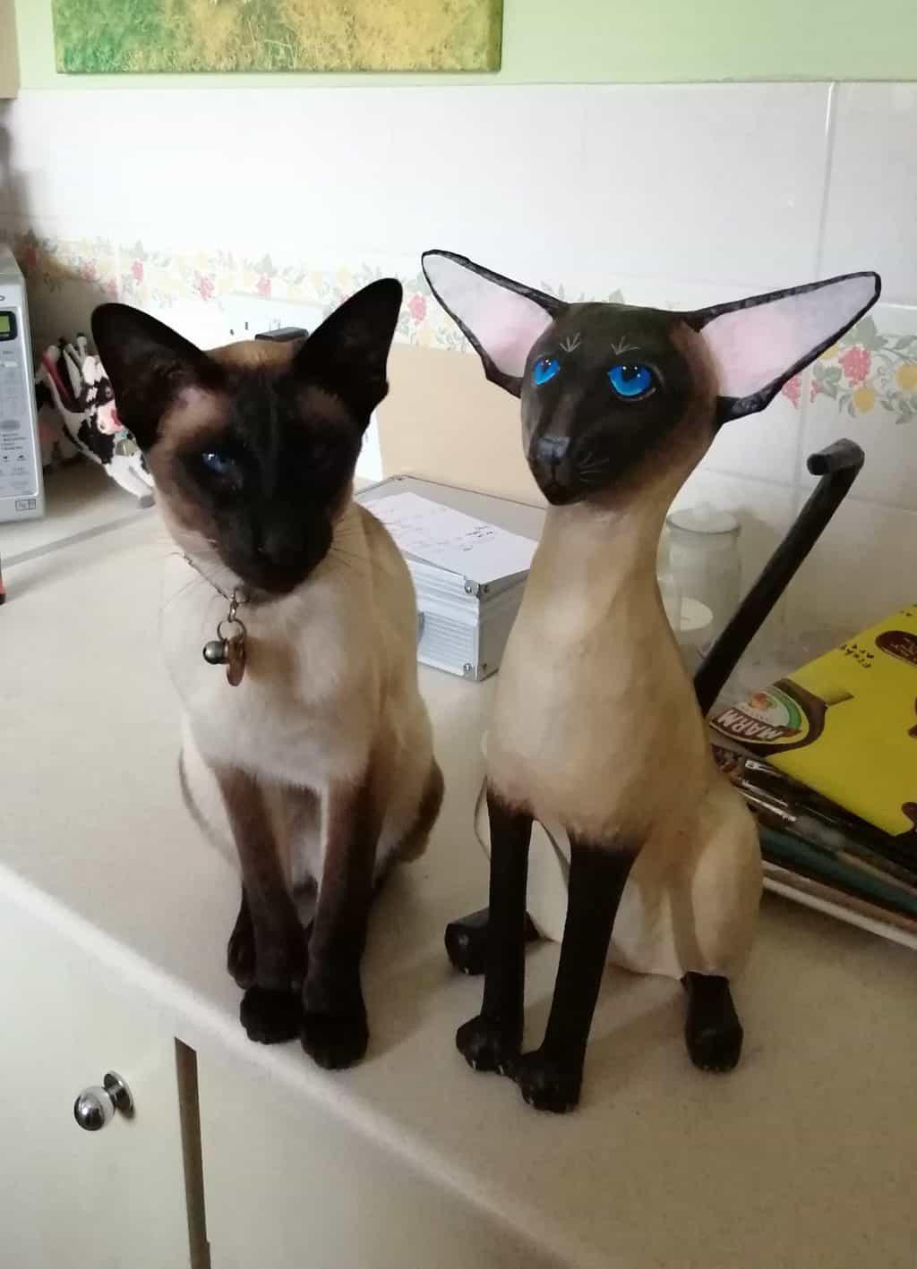 Paper mache Siamese Cat