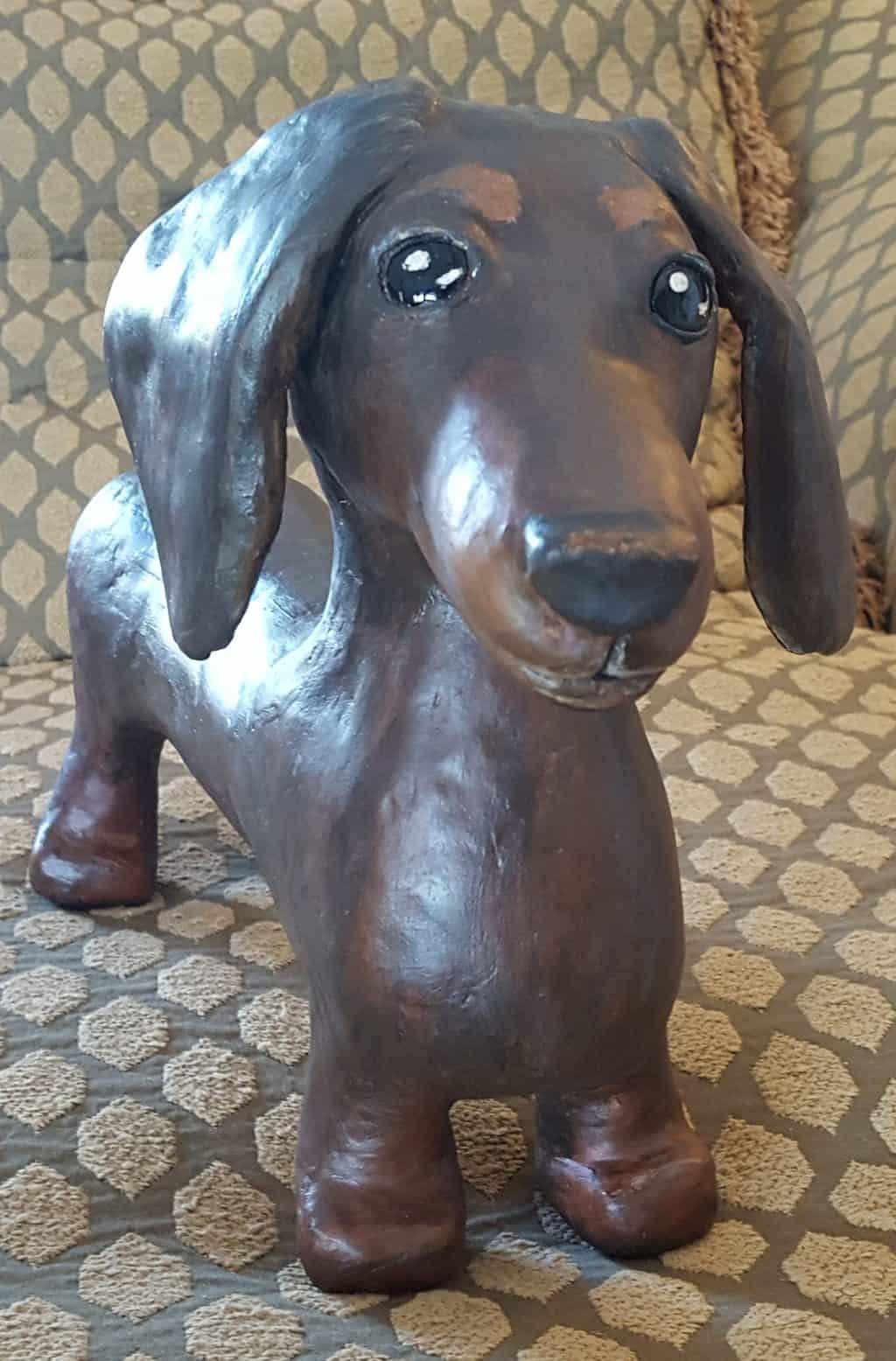 Paper clay dachshund
