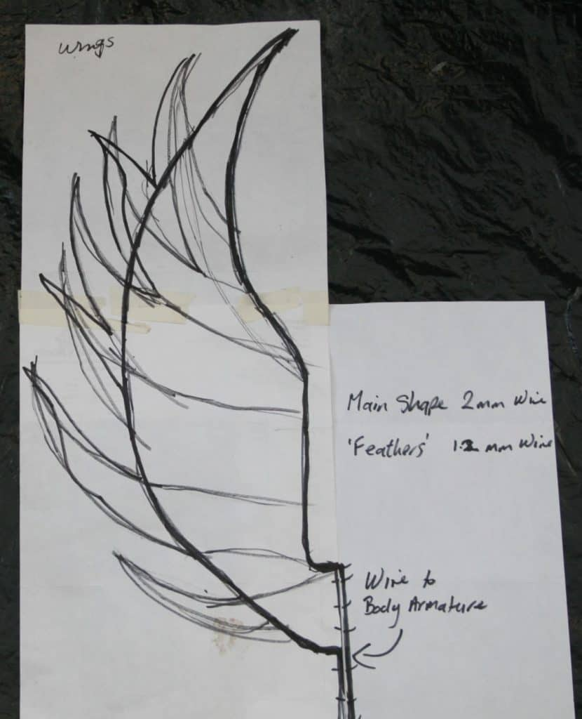 Sketch for Angel Wing sculpture