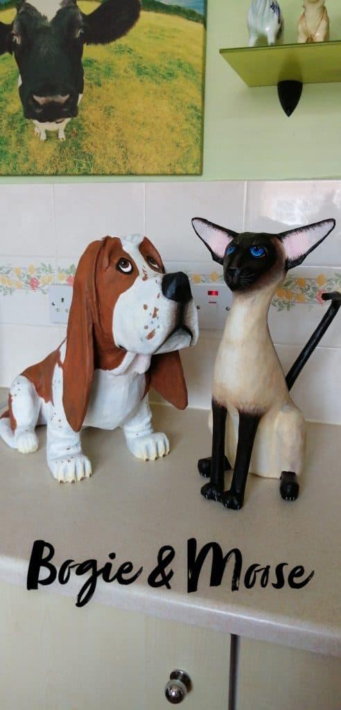 Basset Hound and Siamese Cat Paper Mache