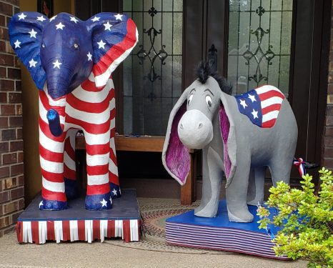 Elephant and Donkey made with paper mache clay