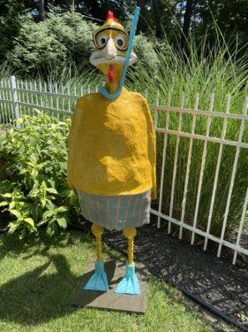 Swimming Chicken Yard Art