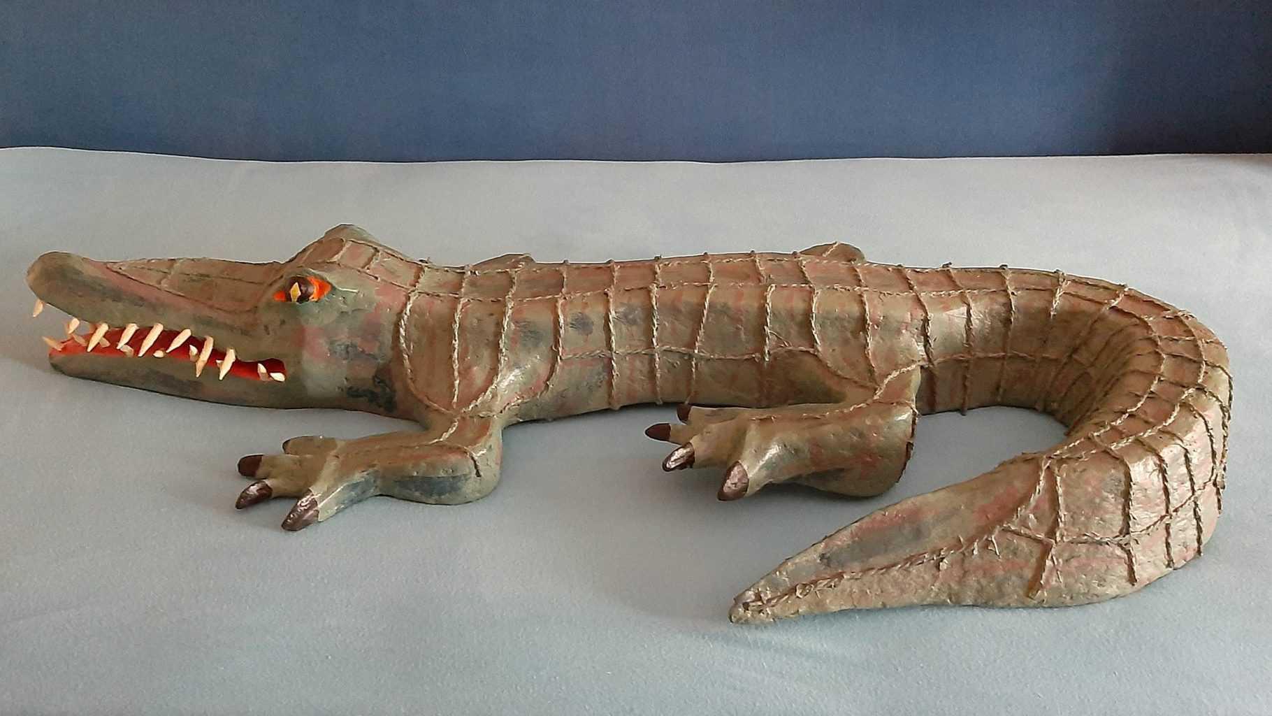 Paper mache crocodile