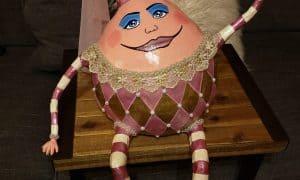 Paper mache humpty dumpty as a lady egg