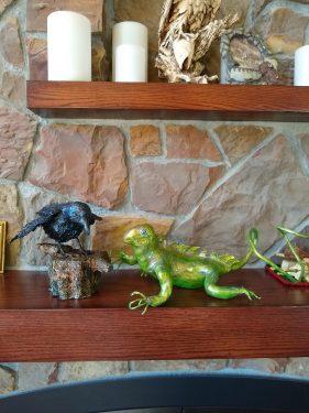 Paper mache raven and lizard
