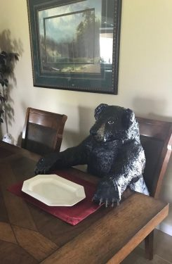 Paper Mache Black Bear Waiting for Dinner