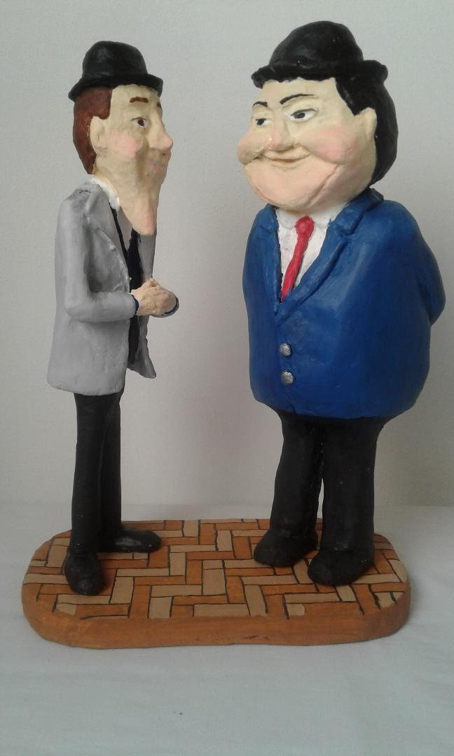Laurel and Hardy in Paper Mache