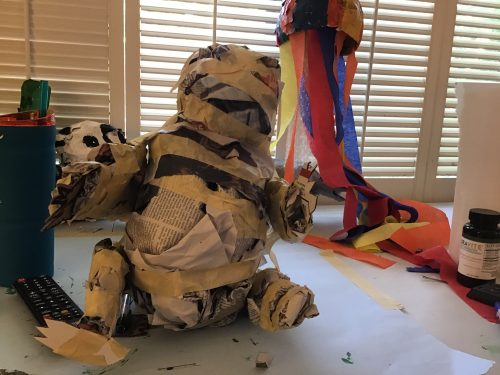 Paper Mache panda, in progress