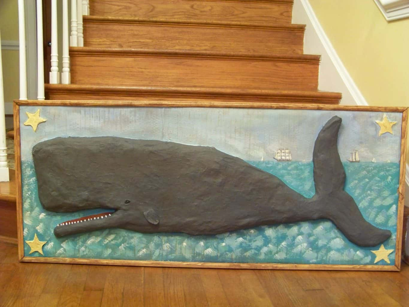 Paper mache whale painting
