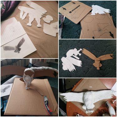 Paper Mache Snow Owl, In Progress