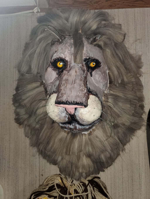 Paper mache lion head