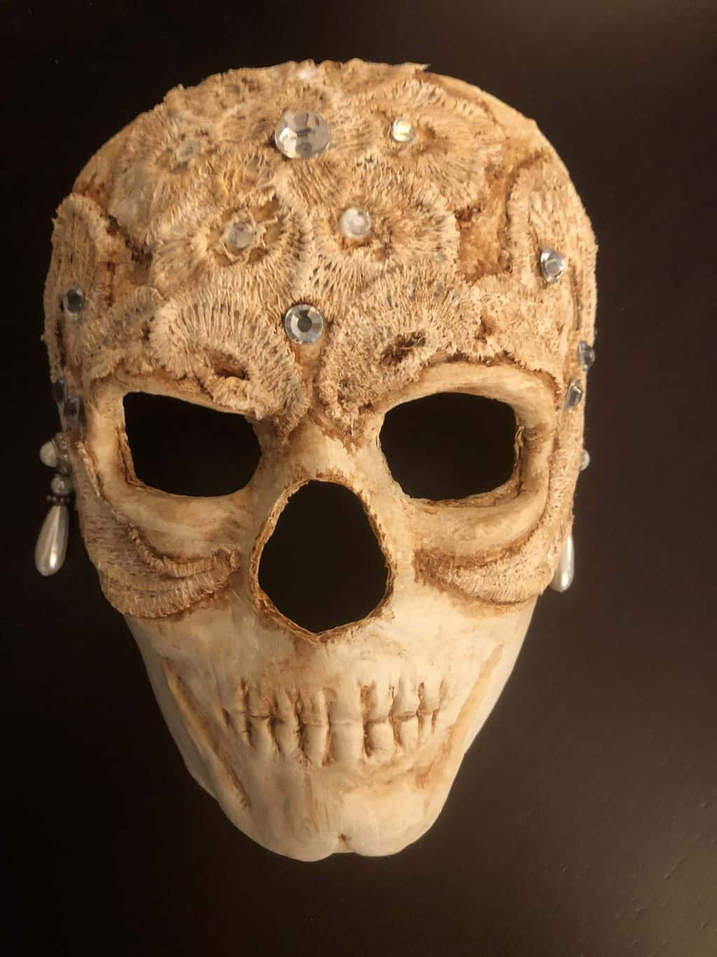 Bride of the Dead paper mache skull mask
