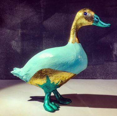Paper Mache Duck with Gold Trim