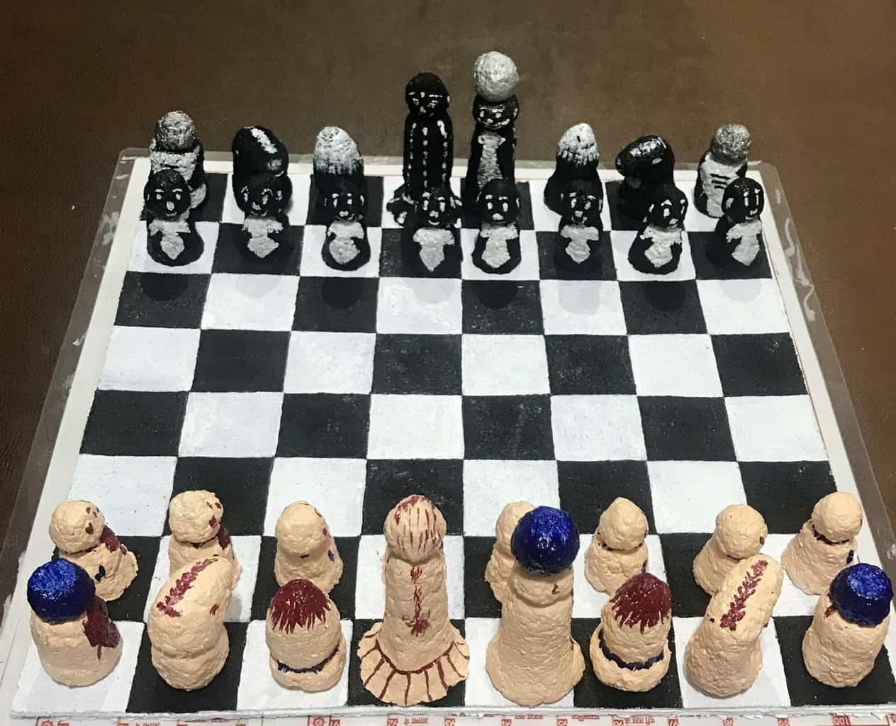 Paper Mache Chess game