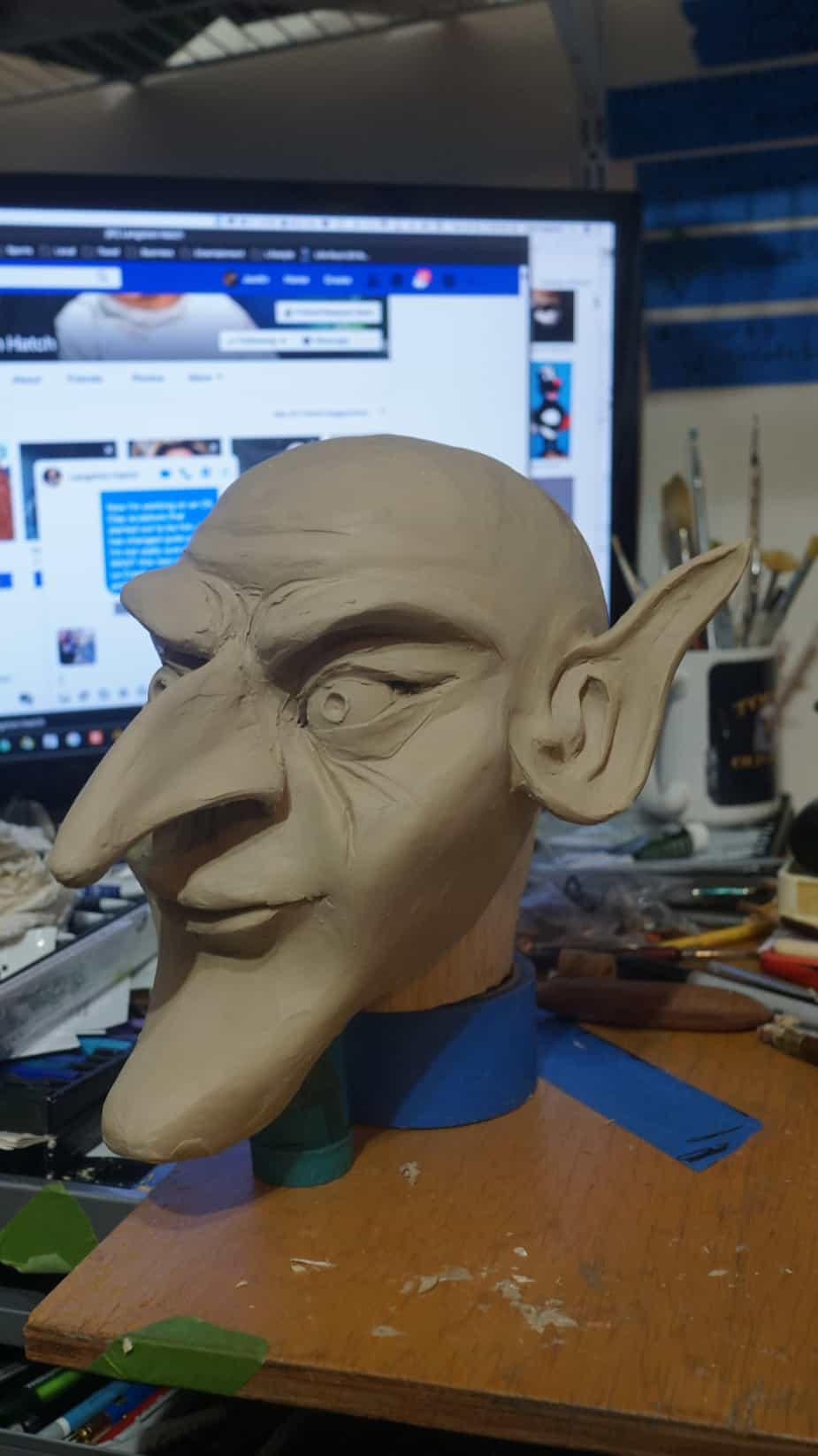 Clay sculpture for puppet head