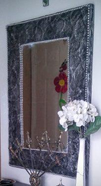 Gun-metal embossed mirror frame