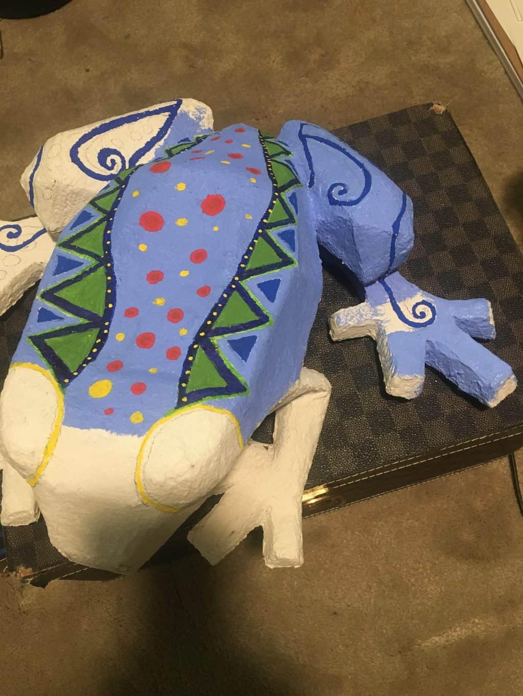 Blue paper mache frog