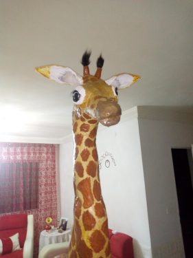 Paper mache giraffe for granddaughter