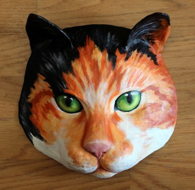 Cat Mask Made with Paper Mache
