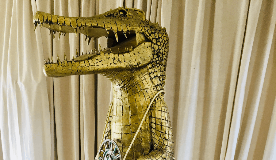 Paper mache croc from Peter Pan