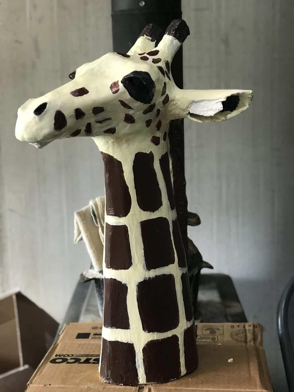 paper mache giraffe head sculpture