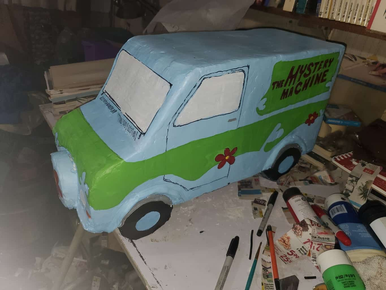 Paper mache van