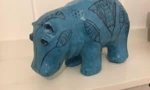 William, the Blue Hippo in Paper Mache