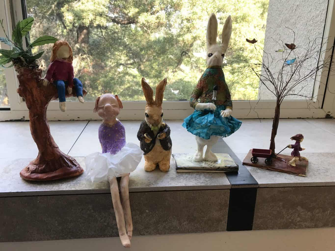 Small animal figures in paper mache