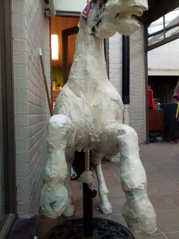 Paper mache carousel horse in progress