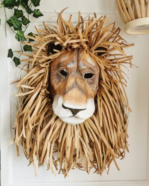 Lion wall sculpture with raffia mane