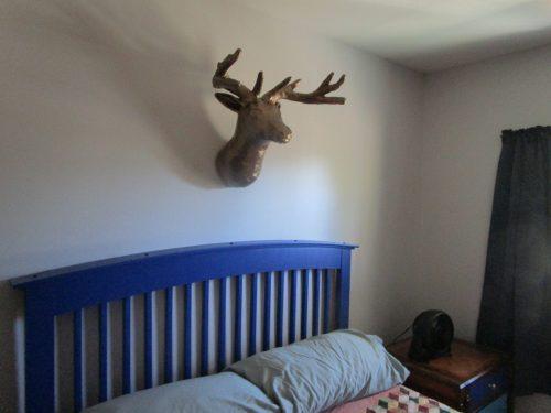 paper mache brass deer head sculpture