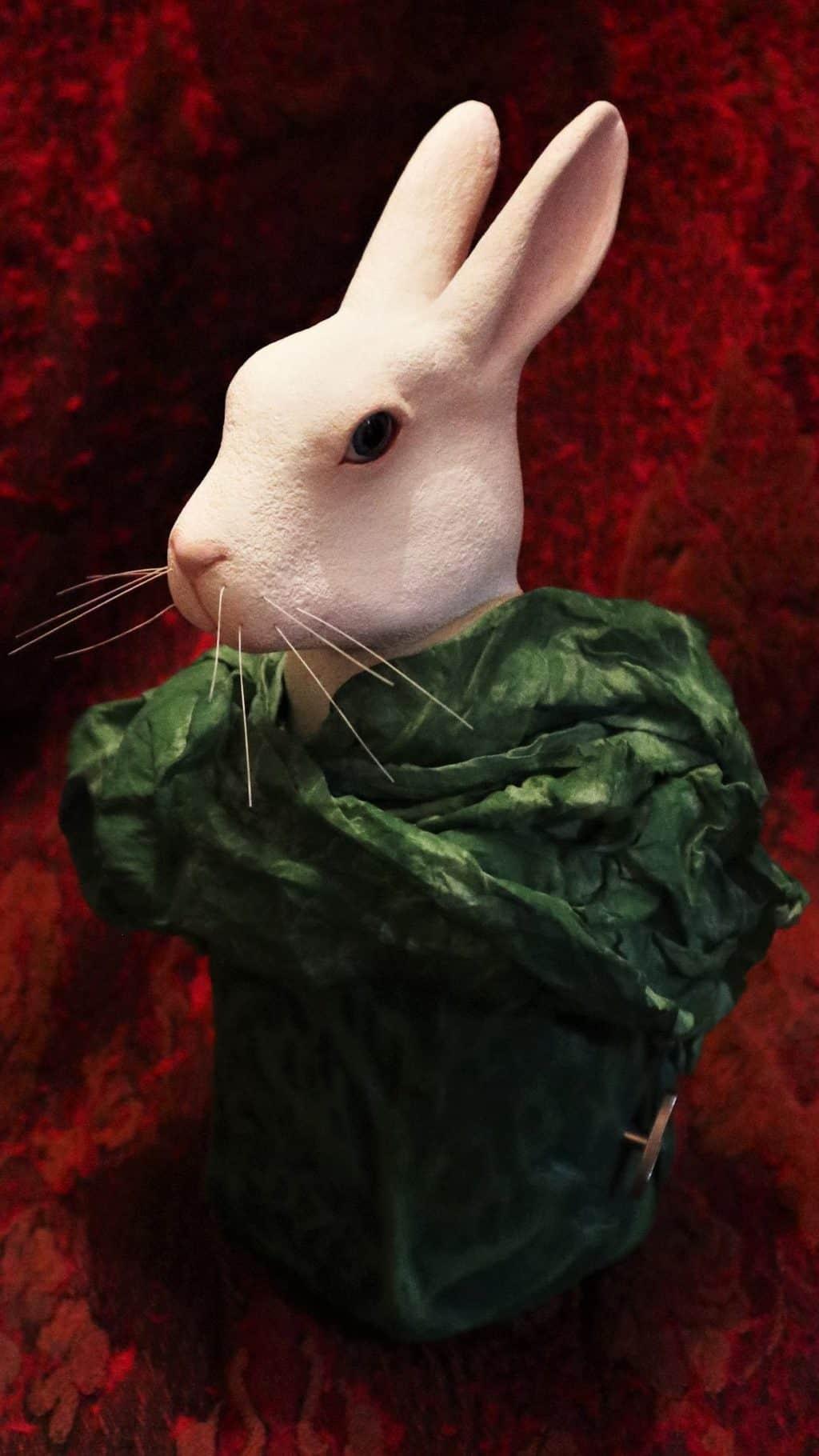 Rabbit music box made with paper mache