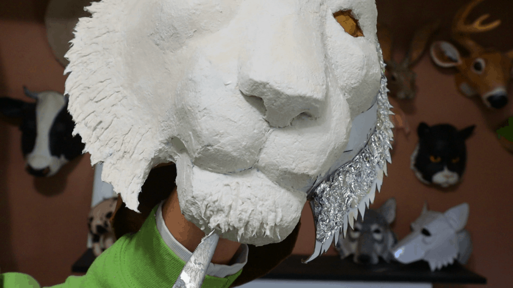 Fur texture with paper mache clay