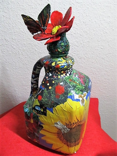 """nature"" sculpture, Paper Mache and collage"