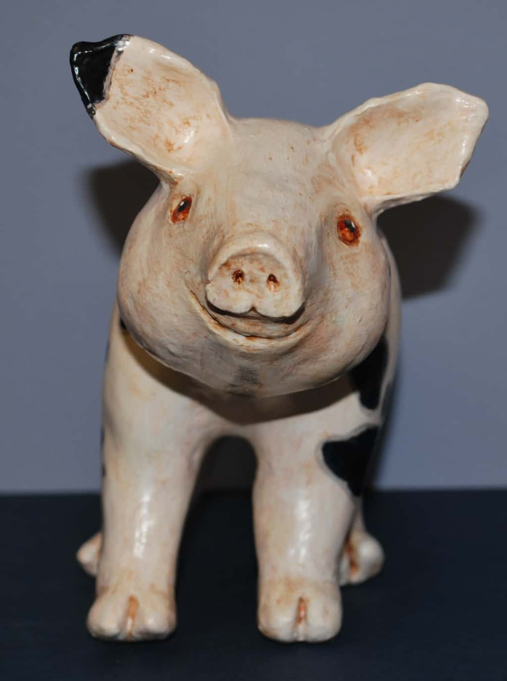 Pig made with paper mache clay