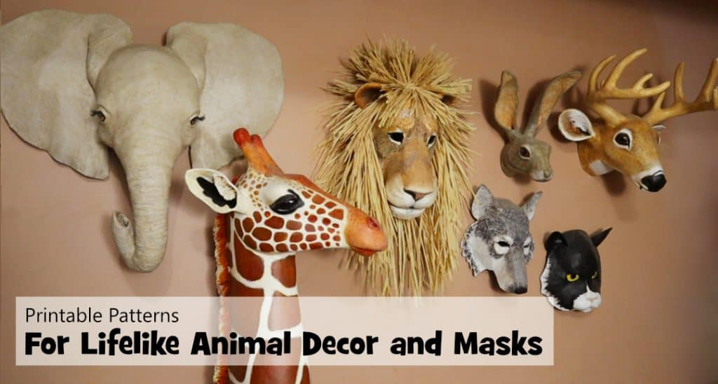 printable patterns for lifelike animal decor and masks.