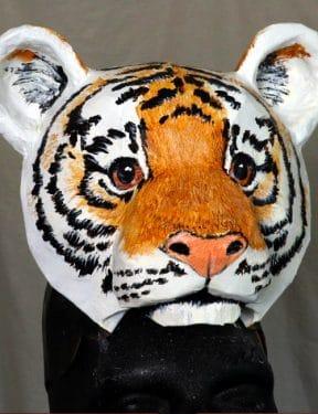 Orange lion cub headdress mask pattern