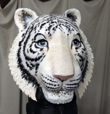 white tiger headdress mask pattern