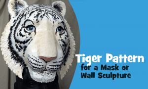 Tiger pattern for a mask or wall sculpture