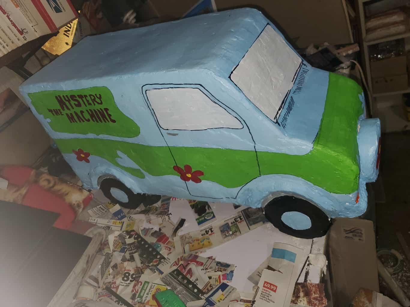 Paper mache delivery van