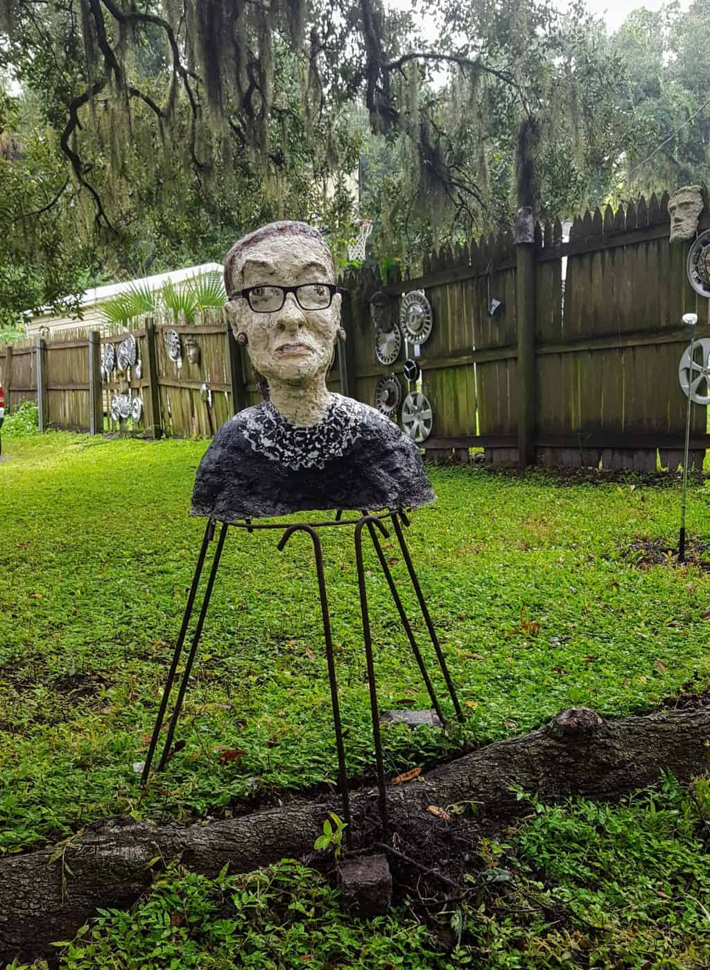 Ruth Bader Ginsburg sculpture in Papercrete