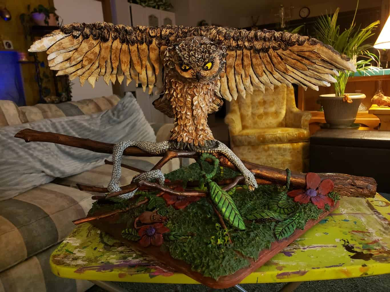 owl sculpture made with paper mache clay