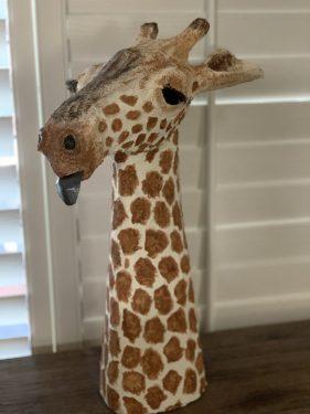 Geraldine the paper mache giraffe