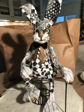 Mr Har and his Checkered Past, paper mache bunny
