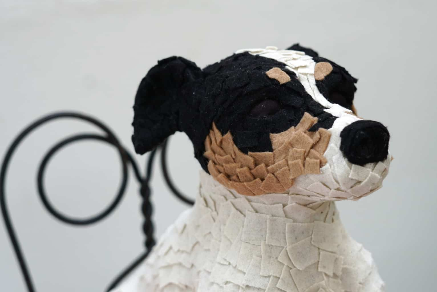 Jack Russel Made with fabric and felt over foil