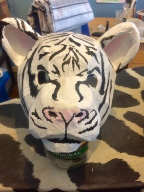 Baby white tiger mask