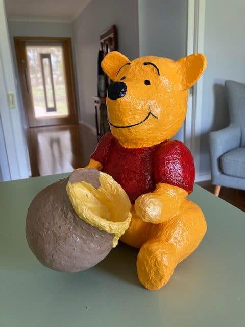 Winnie the Pooh made with paper mache clay
