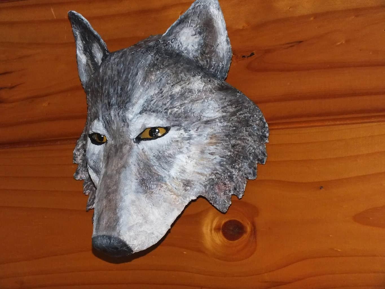 Paper mache wolf mask